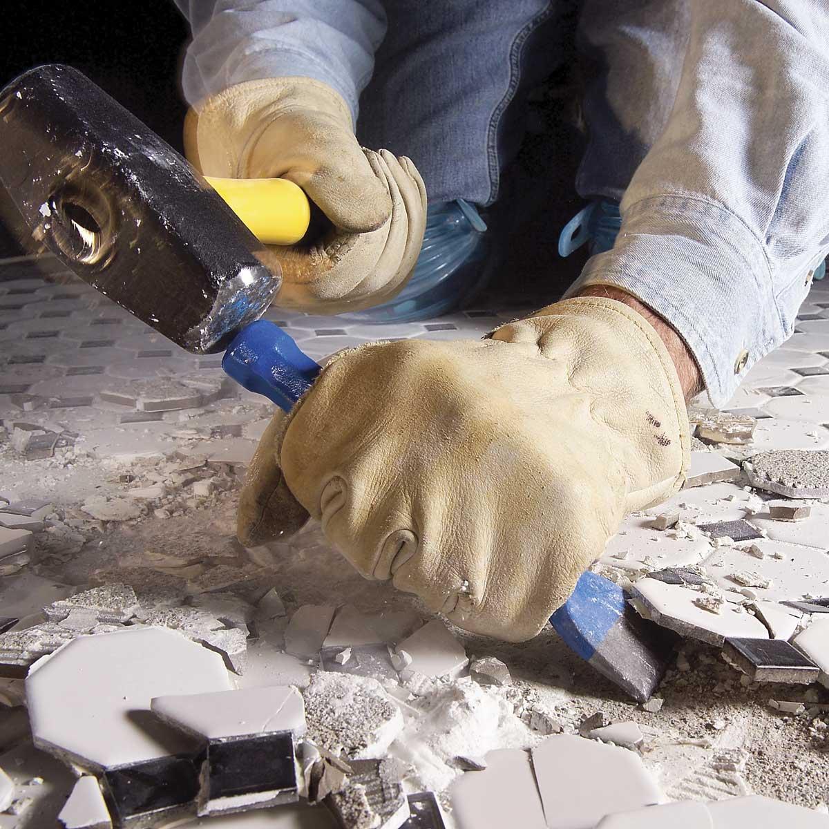 Как удалить плитку с бетонного пола - image1