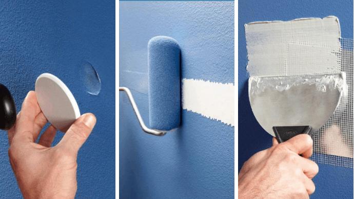 убрать трещины и дыры в стенах и потолке